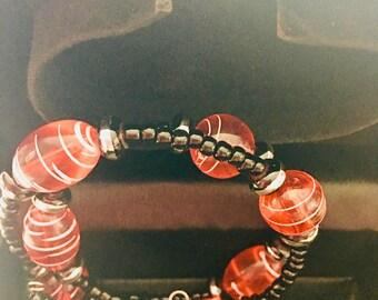 Handmade Glass bead Memory wire bracelet