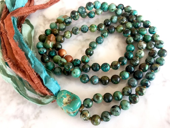 Boho Mala Beads African Turquoise, Sandalwood, Silk Sari Tassel Necklace, December Birthstone, Throat Chakra Mala 108 Bead Yoga Jewelry