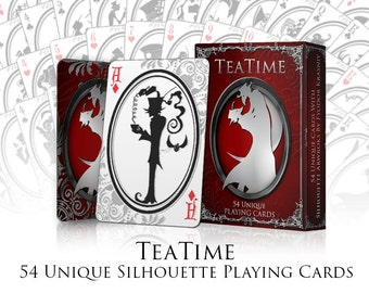 Playing Cards   Silhouette Playing Cards  Tea Time Playing Cards   Cards   Deck of Cards    Tim Burton Cards   Victorian Cards   Card Deck
