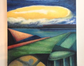 Rising - large modern original oil painting, fog rolling in the moon rising with a colorful geometic suburban setting modern architecture