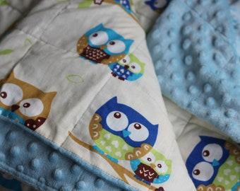 Beige Owls Weighted Therapy Blanket- all sizes and weight available