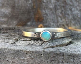 Opal Circle Stacking Ring Birthstone Band