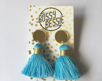 Statement tassel earrings with mirror acrylic top