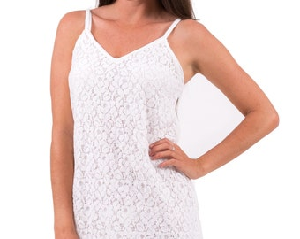 Lace Dress Slip | White with Front and Back Darts | Celine style | Romantic Chic | XS -3XL
