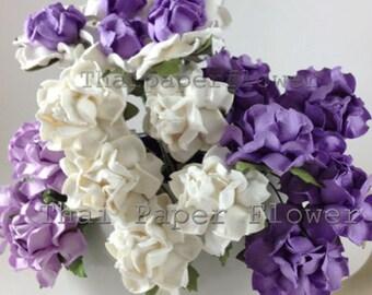 10 Purple White  Mulberry Paper Flowers Scrapbook Craft Supply Wedding Card Making (21/601)