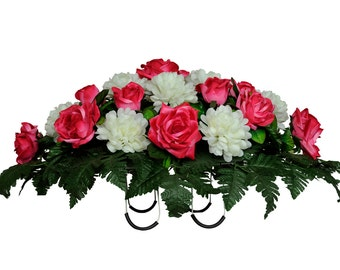 Beauty Pink Rose and White Mums Silk Saddle Arrangement - Cemetery Saddle - Cemetery Flower Arrangement  (SD1542)
