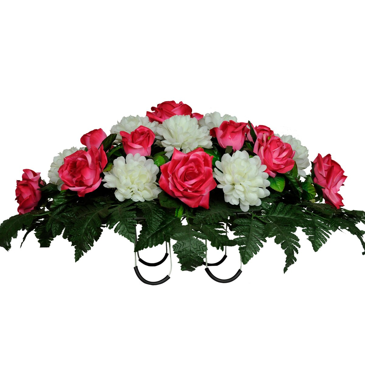 Beauty Pink Rose And White Mums Silk Saddle Arrangement