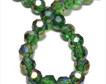 Set of 50 4 mm iridescent green Crystal faceted beads