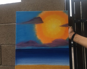 Sunset Encouragement Oil Painting - Original (You decide what phrase is written on it)