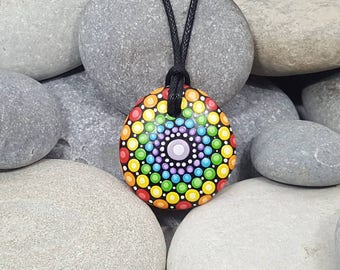 Chakra Painted Necklace - Mandala Art - Painted Rock - Mandala Meditation Rock - Rock Art - Dot Art - Painted Pendant - Mandala Pendant