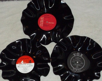 Lot Of 3 Vinyl Record Album Bowls Rock, Hip Hop, Pop, Country, Classical, Soundtrack, Rap, Disco