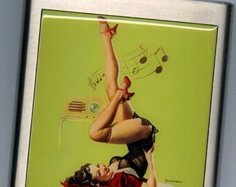Pin-up Pinup Girl with music Liquor Hip Flask Stainless Steel 6 ounce