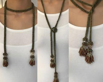 Beaded Lariat with Tassels, Swarovski Crystal Beaded Beads