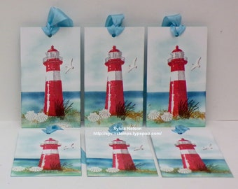 6 Lighthouse Tags...Shine...Water color art tags...Special gift tags...Wedding gift tags...Bridesmaid tags...New Stampin'Up! stamps