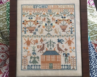 NEW! JUST STITCHiNG ALONG Gertrude's Garden counted cross stitch patterns at thecottageneedle.com 2018 Nashville Market sampler