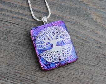 Dichroic Purple-Blue-Magenta Celtic Tree of Life Fused Glass Pendant; Dichroic Glass; Celtic Necklace; Tree of Life Glass Pendant