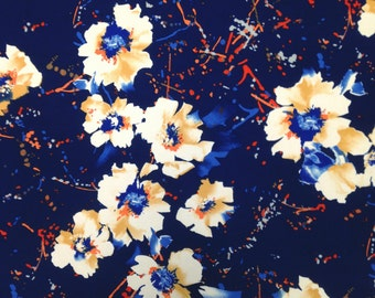 Abstract Floral Pattern on Navy Stretch Lightweight ITY Knit Jersey Polyester Spandex Fabric - 58 to 60 Inches Wide - By the Yard or Bulk