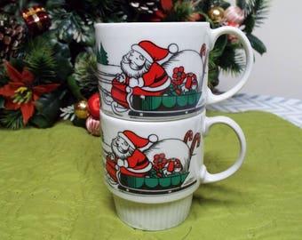 Vintage Santa Stacking Mugs Japan Kitsch Christmas Gift Exchange
