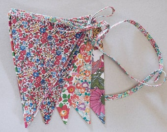 LIBERTY BUNTING Constructed from Liberty Art Fabric Cotton Tana Lawn. 12 mixed-print flags, 3 metre length