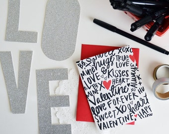 Valentine, Hand lettered, XOXO, Sweetheart, Be Mine, Folded Note Cards, Galentine's Day, Valentine's Day, Stationery