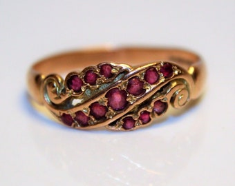 Edwardian style Ruby 9ct Rose Gold ring size P ~ 7 3/4