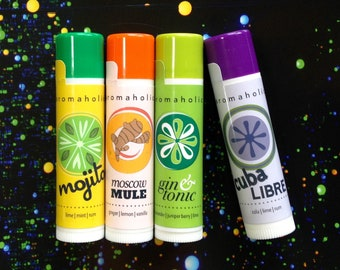 Any 4 cocktail-flavored lip balms - you pick flavors - add note at checkout with flavor choices - gin & tonic and more