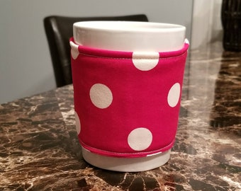 Polka Dot Cup Cozy/ Mug Cozy/ Coffee Cozy...Mug Included/ Kitchen Gift/ Office Gift