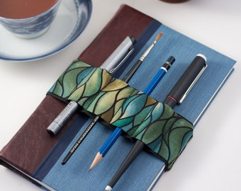 Journal Bandolier // green waves // (a better pencil case, journal pen holder, book strap, pen loop, pencil roll, pen bandolier)
