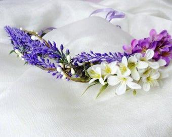 Lavender Flower Crown, Wedding Headpiece, Purple, Flower crown Boho flower crown Pink purple Floral crown Wedding bridal crown Flower crown
