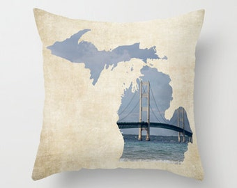 Throw Pillow Cover Michigan Mackinaw Mackinac Bridge Lake Blue Rustic Lakehouse Cottage Decor Photo Case Home Bedroom Bed Couch