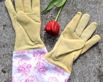 Gardening pleasure. Exclusive garden glove made of goat leather. Vintagestoffstulpe from Bavarian, traditional farmer's fabric. Nadeloehr25.