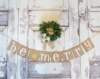 Be Merry Banner Garland Christmas Decoration MERRY CHRISTMAS Banner Garland Be Merry Christmas garland