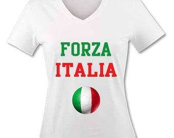 T-shirt V neck woman - Forza Italia - Italy