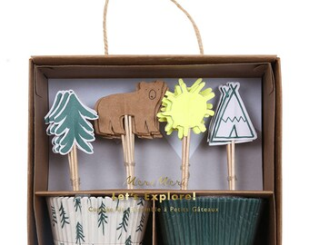 Let's Explore Cupcake Kit, Birthday Party, Celebration, Cake Toppers, Cupcake Cases, Bears, Trees, Teepees, Camping Theme, Baking