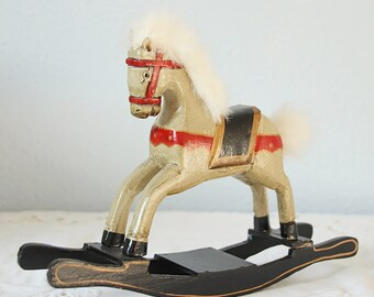 Vintage Small Wooden Rocking Horse, Hand Carved and Hand Painted