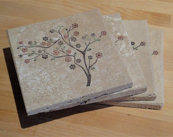 Cherry Blossom Trees - wedding gift set (set of 4 coasters)