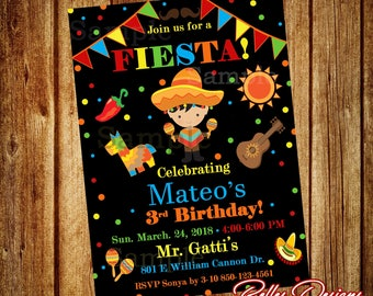 Fiesta Birthday Invitation, Fiesta Party Invitations, Birthday boy Invitations, Spanish Invitations, Fiesta Invites, Digital File