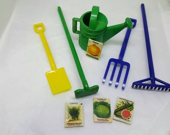 Irwin Toy Garden Set  Fits 3/4 to 1 inch scale  Plastic Mint but no card Hoe Rake Shovel watering can Fork