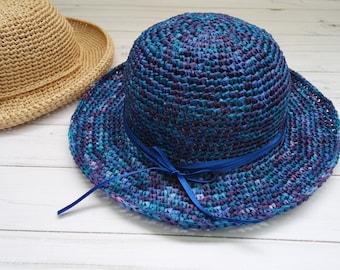 Blue Women Hats Summer Hat Women Sun Hat Crochet Hat Beach Hat Ladies hat Wide brim hat women gift for her Beach accessories Travel gifts