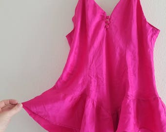 Vintage 1980's Hot Pink Teddy Size L