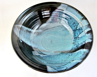 Large serving bowl, Black and blue pottery bowl, Modern ceramics decor- In stock 234 SB