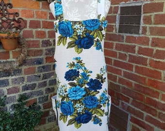 Cross back apron, vintage fabric, vintage barkcloth, blue and white, floral apron