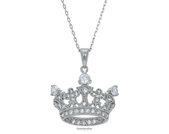 925 Sterling Silver Crown Necklace With Stones, Silver Tiara Necklace,Princess Tiara Pendant