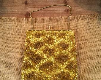 Vintage Nordstroms gold sequin fring Evening Bag