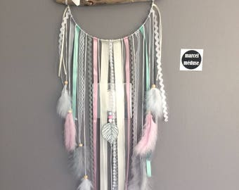 Dream catcher driftwood and butterfly, beige, mint and cream