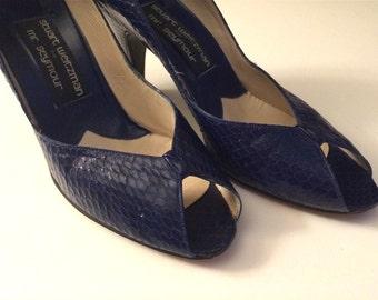 Vintage Shoes Women's 80's Stuart Weitzman for Mr. Seymour, Blue, Snakeskin, Heels (Size 6)