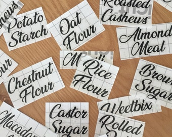Pantry Labels, Pantry Decals, Custom labels, Food labels, Jar labels, Container Labels, Pantry Organisation - Pack of 10 or 20 or 30