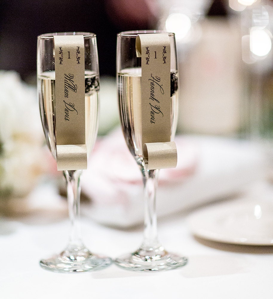 Sample of champagne flute escort cards as seen on 100 layer zoom jeuxipadfo Choice Image