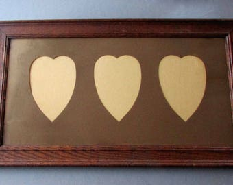 ANTIQUE Oak Wood PICTURE FRAME with Heat Shaped Matte circa 1900