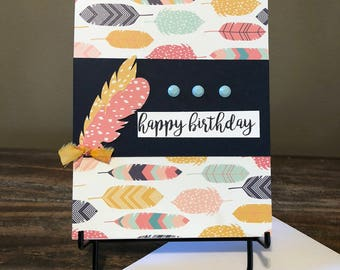 Lovely handmade birthday card. Homemade birthday card. Handcrafted birthday card. Birthday greeting card.